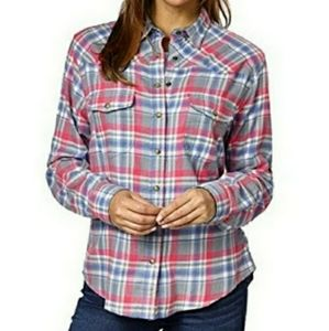 Jachs girlfriend bea pink fray button down flannel